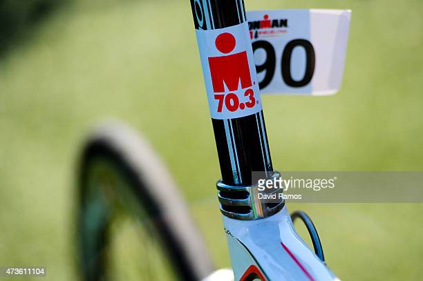 An Ironman logo is seen on a bike of a competitor ahead of the Ironman 703 race on May 16 2015 in Barcelona Spain