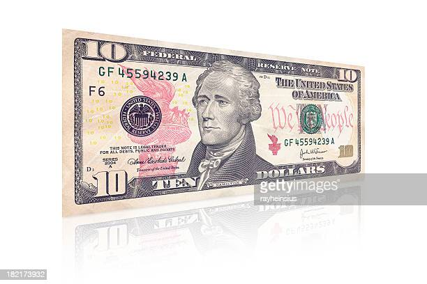 An isolated side view of a ten dollar bill