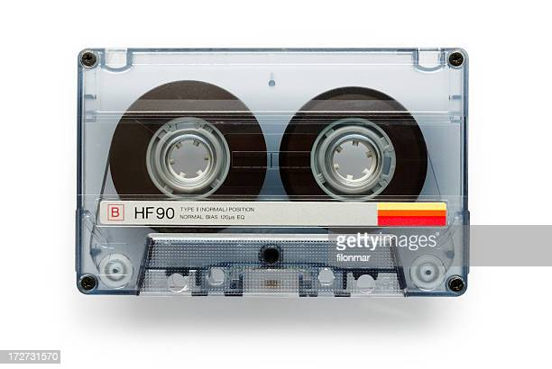 An isolated vintage music cassette tape