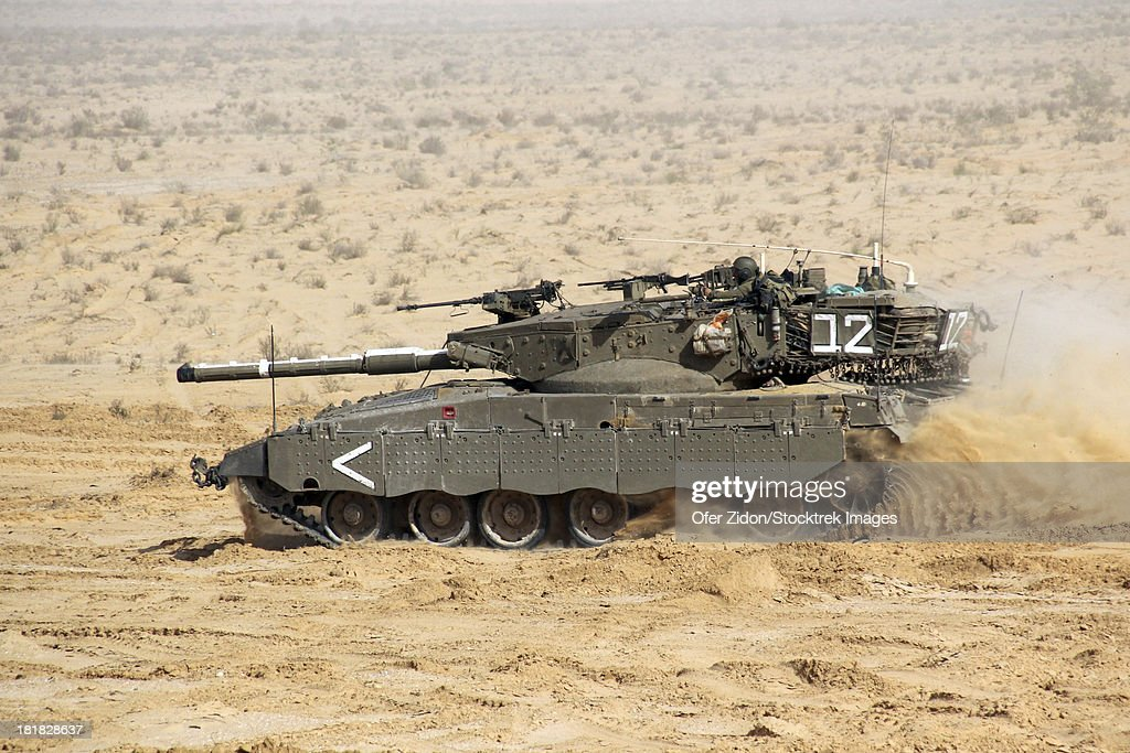 An Israel Defense Force Merkava Mark II main battle tank.