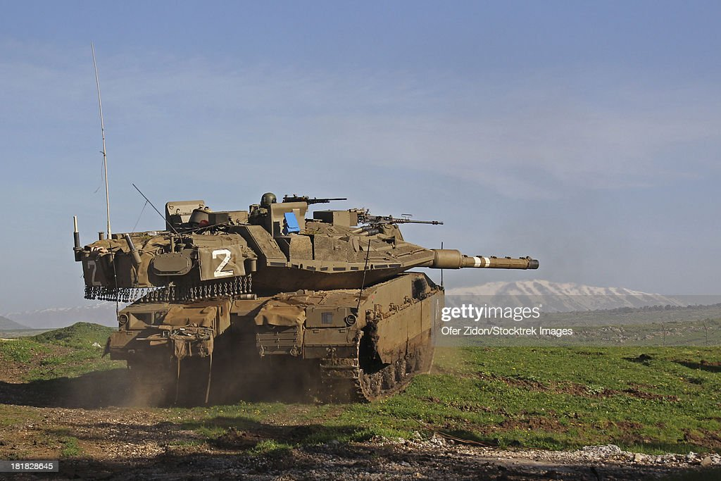 An Israel Defense Force Merkava Mark IV main battle tank during an exercise in the Golan Heights.