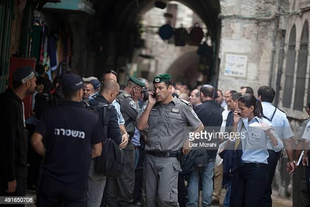 An Israeli border policemen near a stabbing scene on October 7 2015 in Jerusalem's Old City Israel According to Israeli police a Palestinian woman...