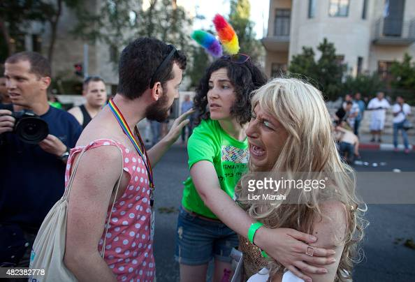 An Israeli cries after a stabbing during the Gay Pride Parade on July 30 2015 in Jerusalem Israel At least six people were stabbed at Jerusalem's...