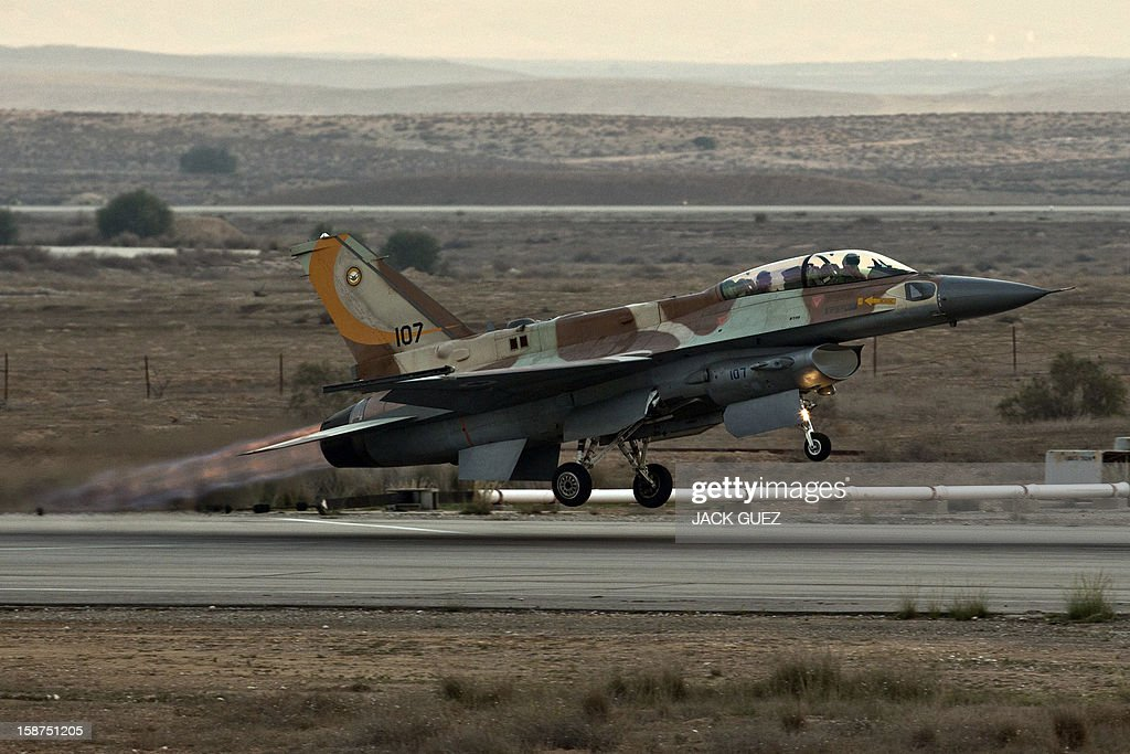 An Israeli F-16 I fighter jet takes off during an air show at the graduation ceremony of Israeli pilots in the Hatzerim air force base in the Negev desert, near the southern Israeli city of Beersheva, on December 27, 2012.
