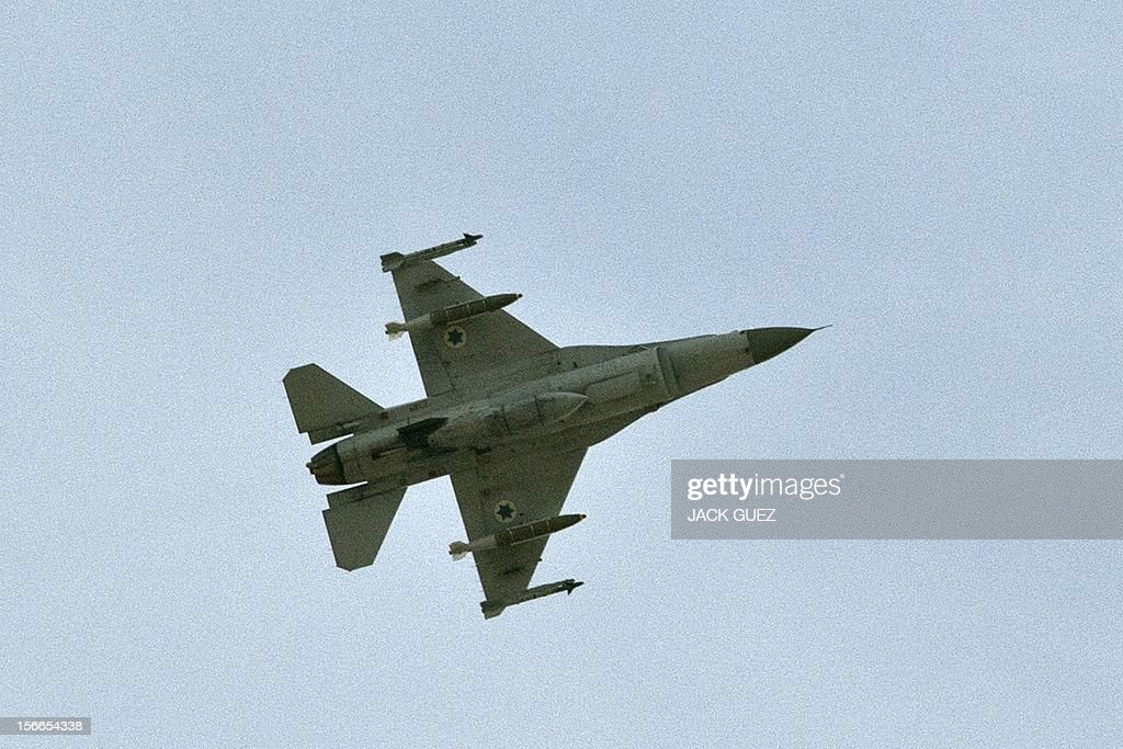 An Israeli F-16 jet pass over the Israeli city of Ashdod on November 18, 2012, during rocket launch from the near by Palestinian Gaza Strip. Israel's Foreign Minister Avigdor Lieberman said that Israel would not negotiate a truce with Gaza Strip's Hamas rulers as long as rocket fire continues from the Palestinian enclave.