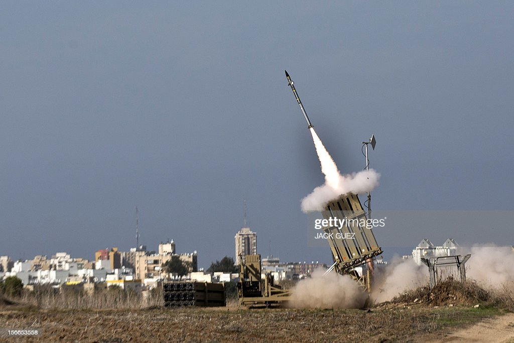An Israeli missile is launched from the Iron Dome defence missile system, designed to intercept and destroy incoming short-range rockets and artillery shells, in the southern Israeli city of Ashdod in response to a rocket launched from the nearby Palestinian Gaza Strip on November 18, 2012. Sirens sounded across Tel Aviv for a fourth straight day, AFP correspondents said, as Israeli police confirmed two rockets had been intercepted over the city by the Iron Dome defence system.