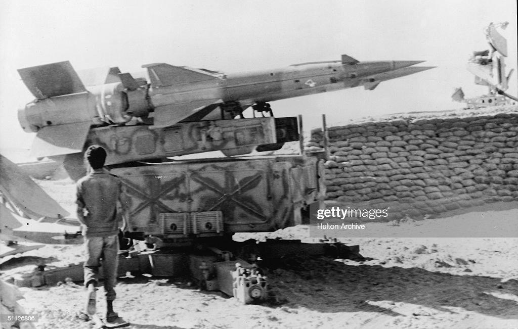 An Israeli soldier walks towards a Sovietbuilt Egyptian SAM III antiaircraft missile launcher captured on the western bank of the Suez Canal during...