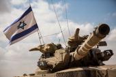 An Israeli tank moves positions near the IsraeliGaza border on the morning of July 18 2014 near Sderot Israel Late last night the Israel operation...