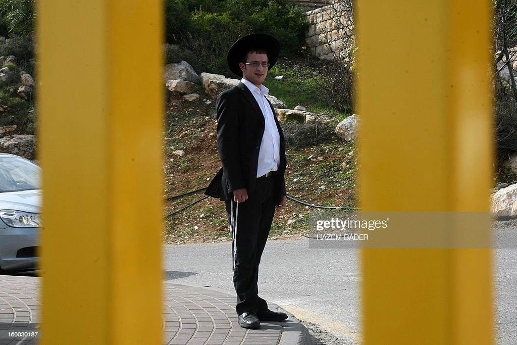 An Isreali settler stands behind fences looking at a protest of Palestinians at the entrance of the El'azar Israeli settlement, south of the West Bank town of Bethlehem, to protest against the Israeli occupation and ask for the prisoners release on January 25, 2013.