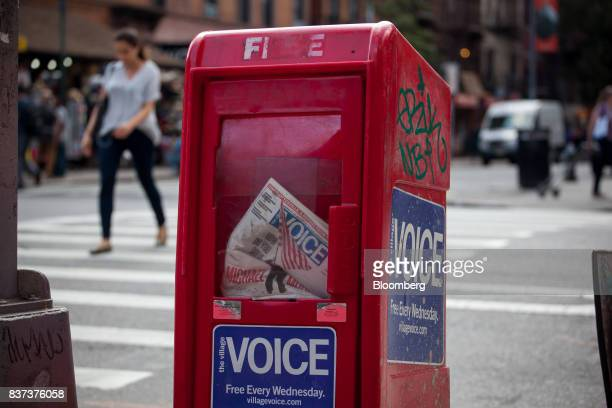 An issue of The Village Voice is seen inside a distribution box in the East Village neighborhood of New York US on Tuesday Aug 22 2017 Peter Barbey...