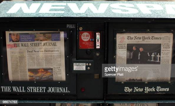 An issue of The Wall Street Journal is viewed beside The New York Times on April 26 2010 in New York City The Wall Street Journal commenced a New...