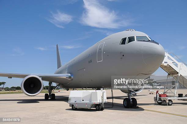 An Italian Air Force KC-767A tanker on the ramp at Pratica di Mare Air Base, Italy.