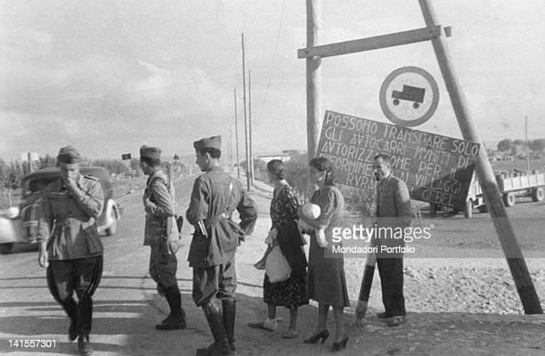 An Italian checkpoint along a road of Cyrenaican Jebel on the Egyptian front Cyrenaica September 1941