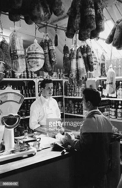 An Italian delicatessen in the town of Bedford home to a growing community of Italian immigrants 24th September 1955 Original Publication Picture...