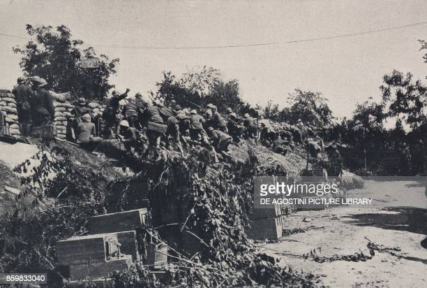 An Italian department repelling an attack on the Piave embankment at Candelu Battle of Piave Italy World War I from l'Illustrazione Italiana XLV Year...
