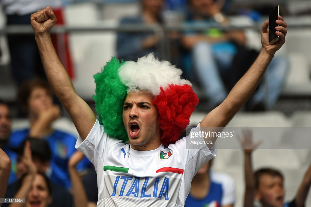 An Italian fan cheers during the UEFA EURO 2016 round of 16 match between Italy and Spain at Stade de France on June 27, 2016 in Paris, France.