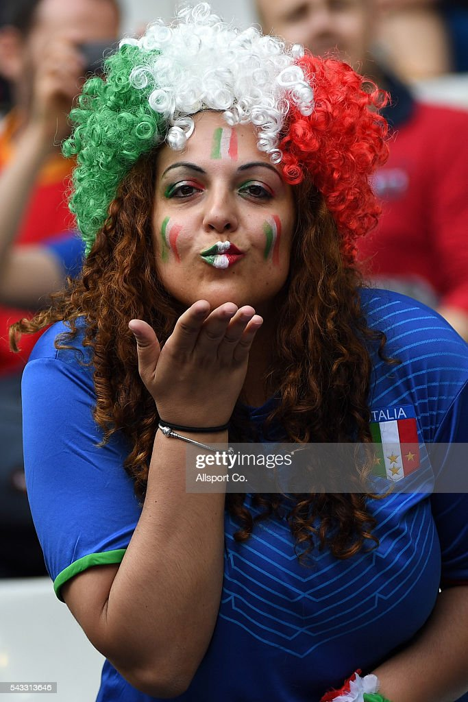 An Italian fan during the UEFA EURO 2016 round of 16 match between Italy and Spain at Stade de France on June 27, 2016 in Paris, France.