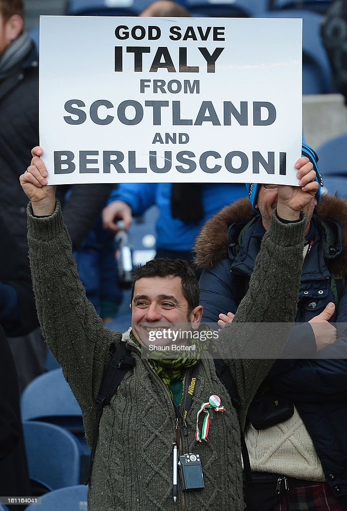 An Italian fan holds a sign before the RBS Six Nations match between Scotland and Italy at Murrayfield Stadium on February 9, 2013 in Edinburgh, Scotland.