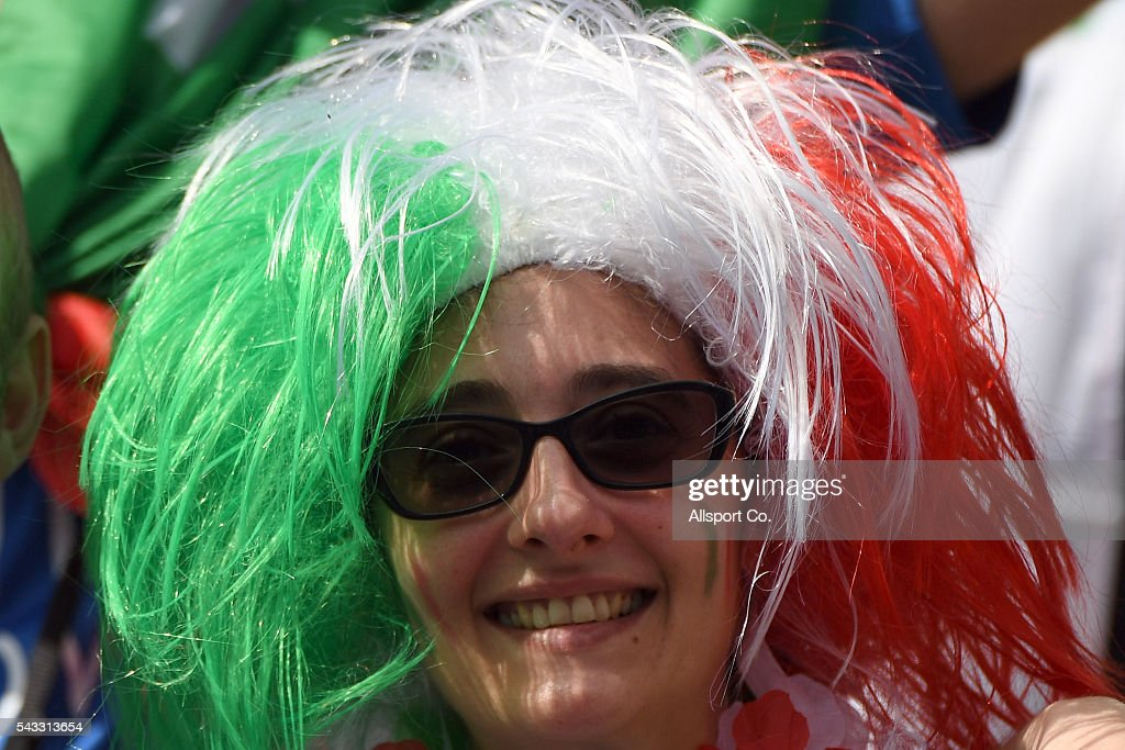 An Italian fan poses during the UEFA EURO 2016 round of 16 match between Italy and Spain at Stade de France on June 27, 2016 in Paris, France.