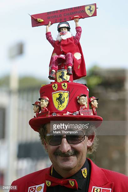 An Italian fan shows his suuport for Ferrari prior to the FIA Formula One Italian Grand Prix at the Autodromo Nazionale Monza on September 13 2003 in...