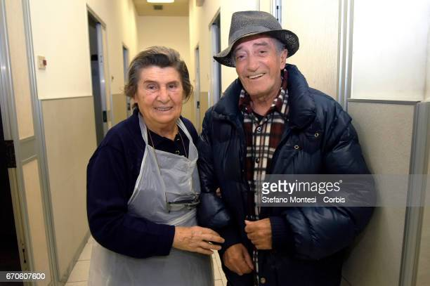 An Italian male guest with a volunteer of the hostel Caritas of Street Marsala on November 6 2007 in Rome Italy