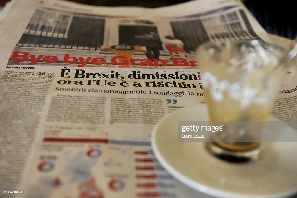 An Italian newspaper declaring about Brexit and UK leaving the European Union is displayed inside a bar on June 25, 2016 in the town of Nola near Naples, Italy. The results from the historic EU referendum has been declared and the United Kingdom has voted to leave the European Union.