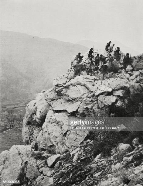 An Italian patrol during the advance in the mountains of central Albania World War I from l'Illustrazione Italiana Year XLV No 29 July 21 1918