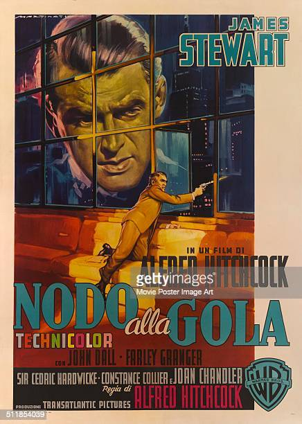 An Italian poster for Alfred Hitchcock's 1948 thriller 'Rope' starring James Stewart