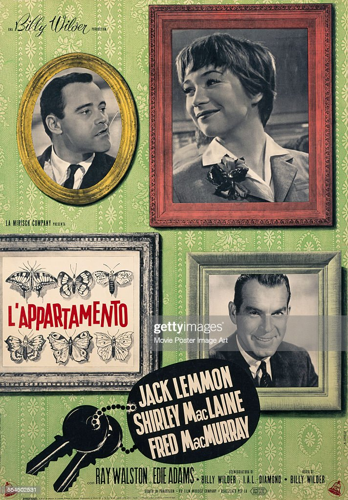An Italian poster for Billy Wilder's 1960 comedy 'The Apartment' ('L'Appartamento') starring Jack Lemmon, Shirley MacLaine, and Fred MacMurray.