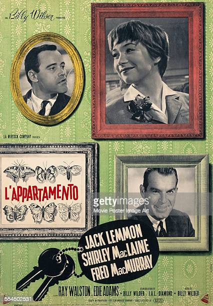 An Italian poster for Billy Wilder's 1960 comedy 'The Apartment' starring Jack Lemmon Shirley MacLaine and Fred MacMurray