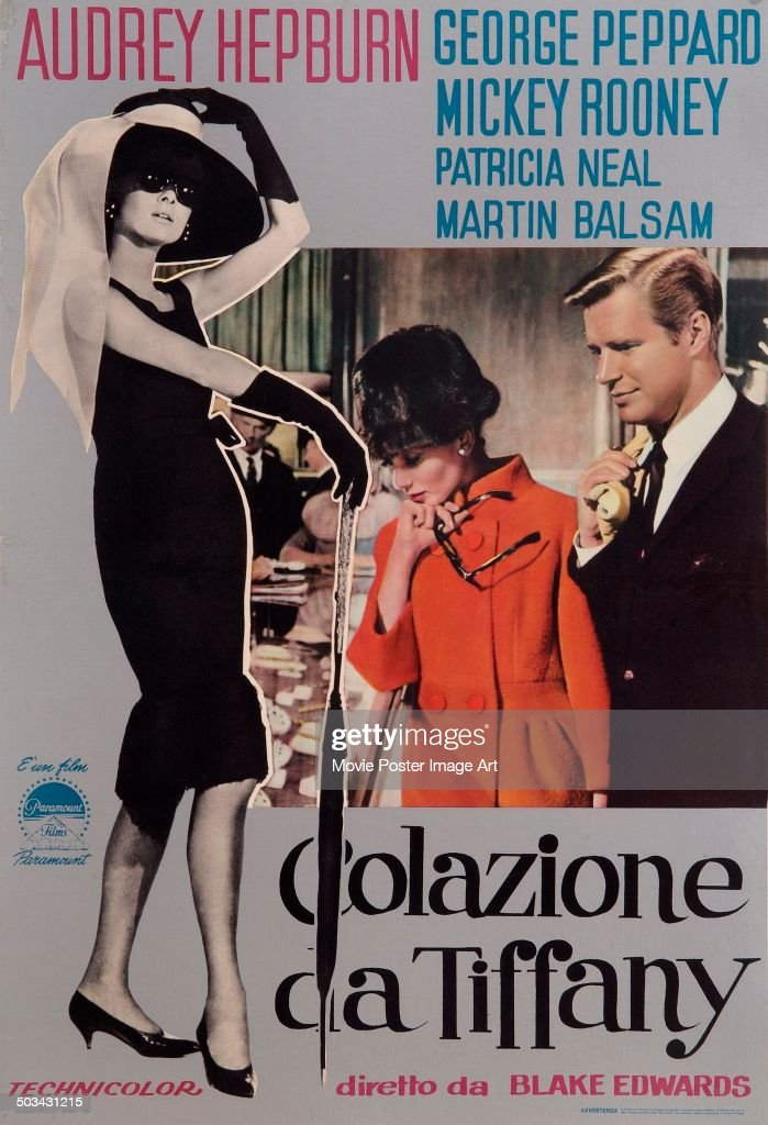 An Italian poster for Blake Edwards' 1961 romantic comedy 'Breakfast at Tiffany's' starring Audrey Hepburn and George Peppard