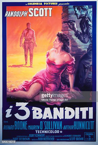 An Italian poster for Budd Boetticher's 1957 thriller 'The Tall T ' starring Randolph Scott and Maureen O'Sullivan