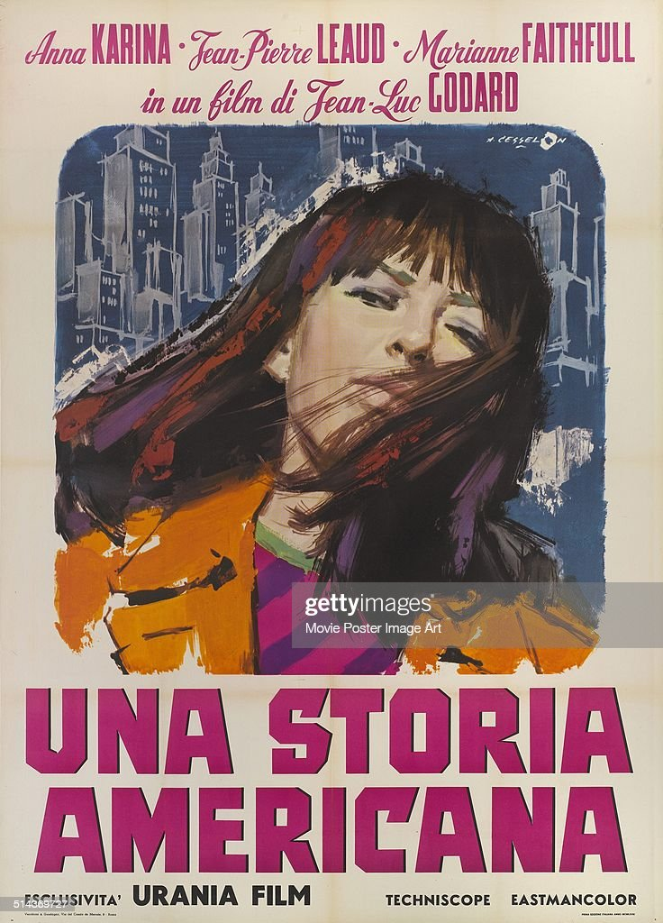An Italian poster for Jean-Luc Godard's 1966 comedy 'Made in U.S.A' ('Una Storia Americana') starring <a gi-track='captionPersonalityLinkClicked' href=/galleries/search?phrase=Anna+Karina&family=editorial&specificpeople=746277 ng-click='$event.stopPropagation()'>Anna Karina</a>.