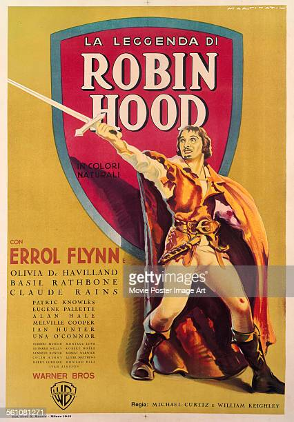 An Italian poster for Michael Curtiz and William Keighley's 1938 action film 'The Adventures of Robin Hood' starring Errol Flynn