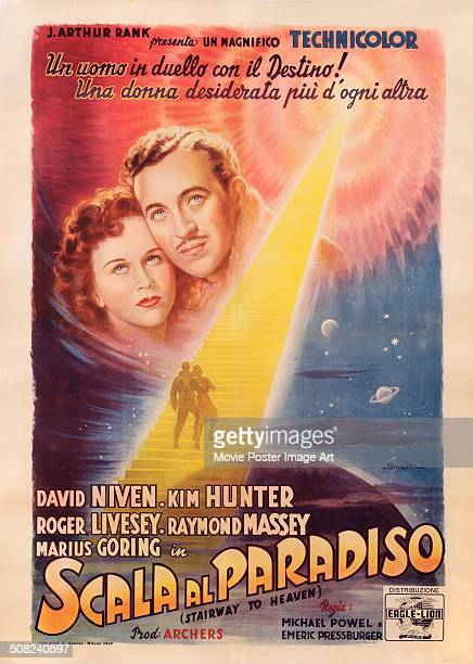 An Italian poster for Michael Powell and Emeric Pressburger's 1946 drama 'A Matter of Life and Death' aka 'Scala al Paradiso' starring David Niven...