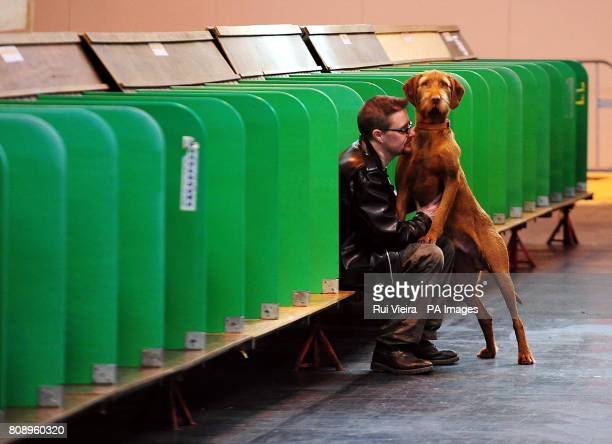 An Italian Spinone dog with it's owner amongst empty stalls during Crufts annual dog show at the NEC Birmingham