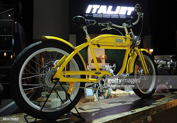 An Italjet Ascot ebike is displayed in The 23rd Indonesia International Motor Show at JI EXPO Kemayoran on August 19 2015 in Jakarta Indonesia The...