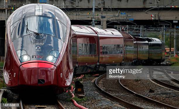 An Italo highspeed train manufactured by Alstom SA and operated by Nuovo Trasport Viaggiatori SpA arrives back at Tiburtina station after its...