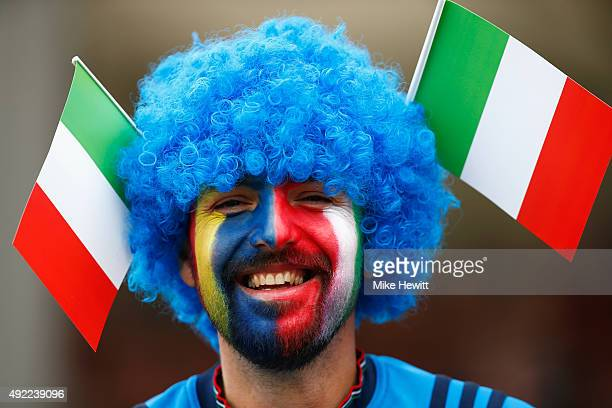 An Italy fan dhows his colours prior to the 2015 Rugby World Cup Pool D match between Italy and Romania at Sandy Park on October 11 2015 in Exeter...