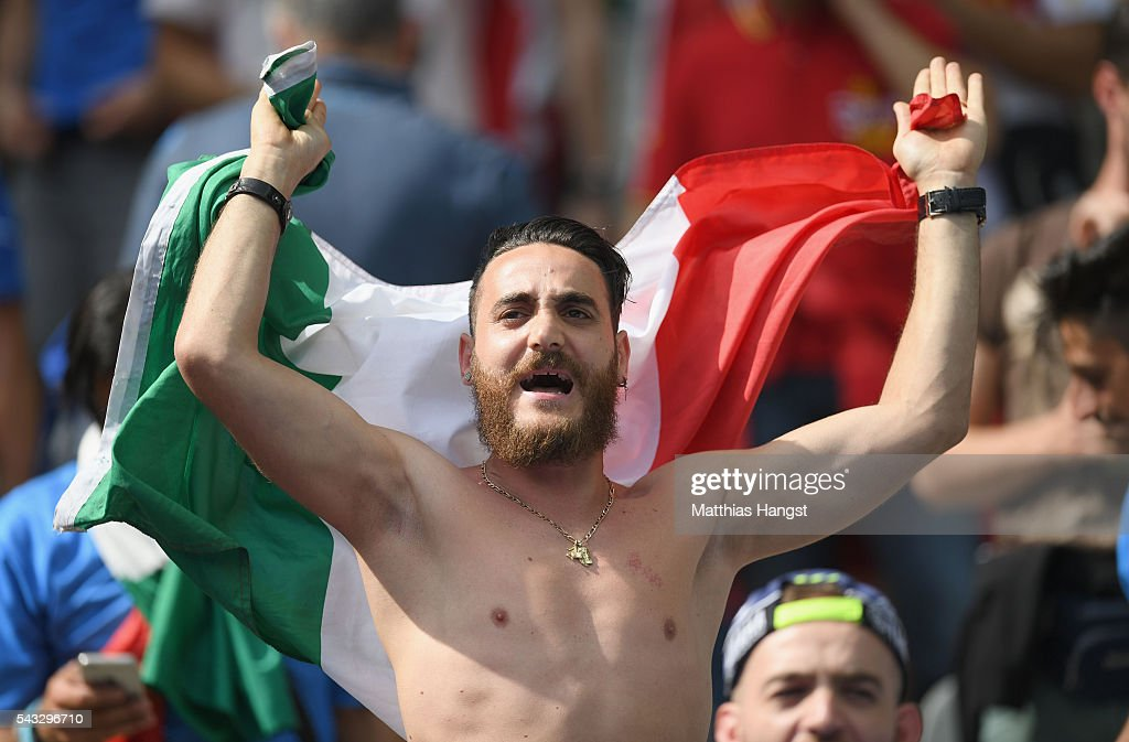 An Italy supporter enjoys the atmosphere prior to the UEFA EURO 2016 round of 16 match between Italy and Spain at Stade de France on June 27, 2016 in Paris, France.
