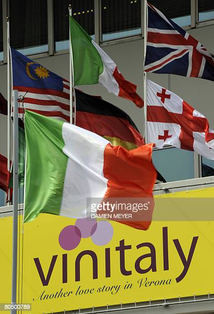 An Italy's flag flys at the first day Vinitaly wine exhibition in Verona on April 3 2008 Vinitaly will welcome 4300 exhibitors coming from more than...