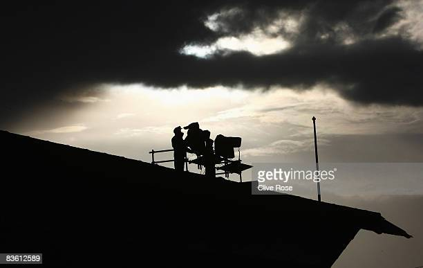 An ITV camera position is seen during the FA Cup 1st Round match between Sutton United vandNotts County at the Borough Sports ground on November 8...
