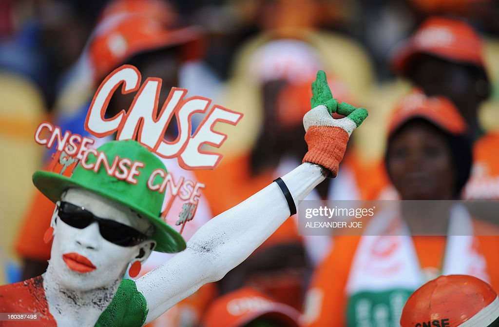 An Ivory Coast supporter gestures as he waits for the start of the Group D 2013 African Cup of Nations football match between Algeria and Ivory Coast, at the Royal Bafokeng Stadium in Rustenburg on January 30, 2013.