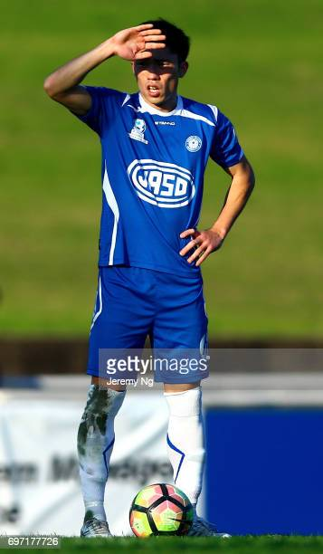An Jinya of Olympic FC looks on during the NSW NPL Men's match between Sydney Olympic FC and Parramatta FC on June 18 2017 in Sydney Australia