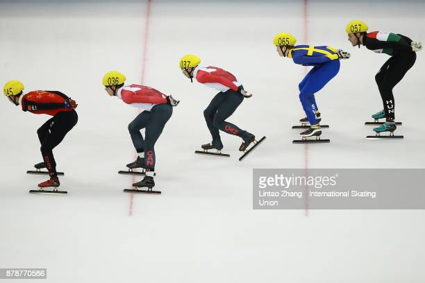 An Kai of China Cedrik Blais and Steven Dubois of Canada Fabrice Dufberg Suh of Sweden and Alex Varnyu of Hungary compete in the Men's 1000M of the...