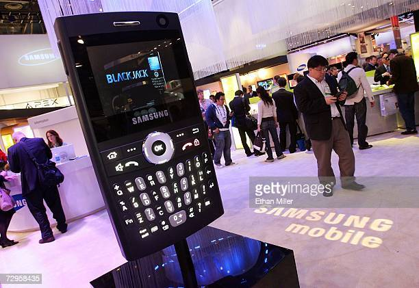 An large model of the new Blackjack smartphone by Samsung is seen at the company's booth at the Las Vegas Convention Center during the 2007...