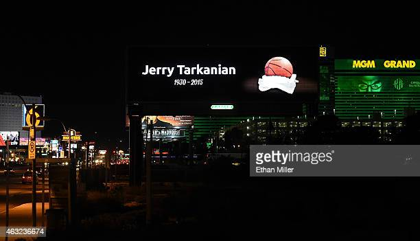 An LED billboard on Tropicana Avenue east of the Las Vegas Strip displays a sign honoring Naismith Hall of Fame college basketball head coach Jerry...