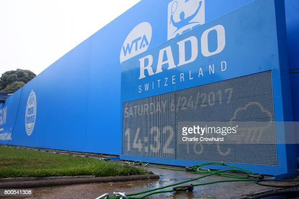An LED board shows the forecast for the day during Qualifying on Day 2 of The Aegon International Eastbourne on June 22 2017 in Eastbourne England