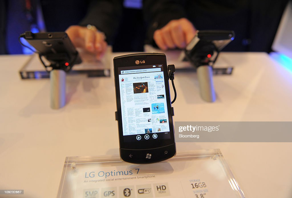 An LG Electronics Inc. Optimus 7 smartphone is seen on display at the Mobile World Congress in Barcelona, Spain, on Thursday, Feb. 17, 2011. The Mobile World Congress takes place at Fira de Barcelona conference center Feb. 14-17. Photographer: Denis Doyle/Bloomberg via Getty Images