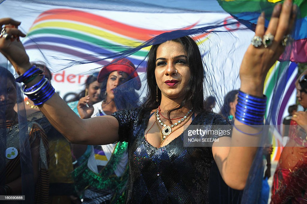 An LGBT (lesbian, gay, bisexual and transgender) activist participates in the Hyderabad Queer Pride parade in Hyderabad on February 3, 2013. LBGT organisations and activists participated in the awareness rally demanding an immediate verdict from the supreme court regarding section 377 of the Indian Penal Code. The 2009 judgment to overturn the colonial-era ban on gay sex was hailed by gay activists at the time as a major victory in their fight for equal rights and opportunities in the world's biggest democracy. AFP PHOTO / Noah SEELAM
